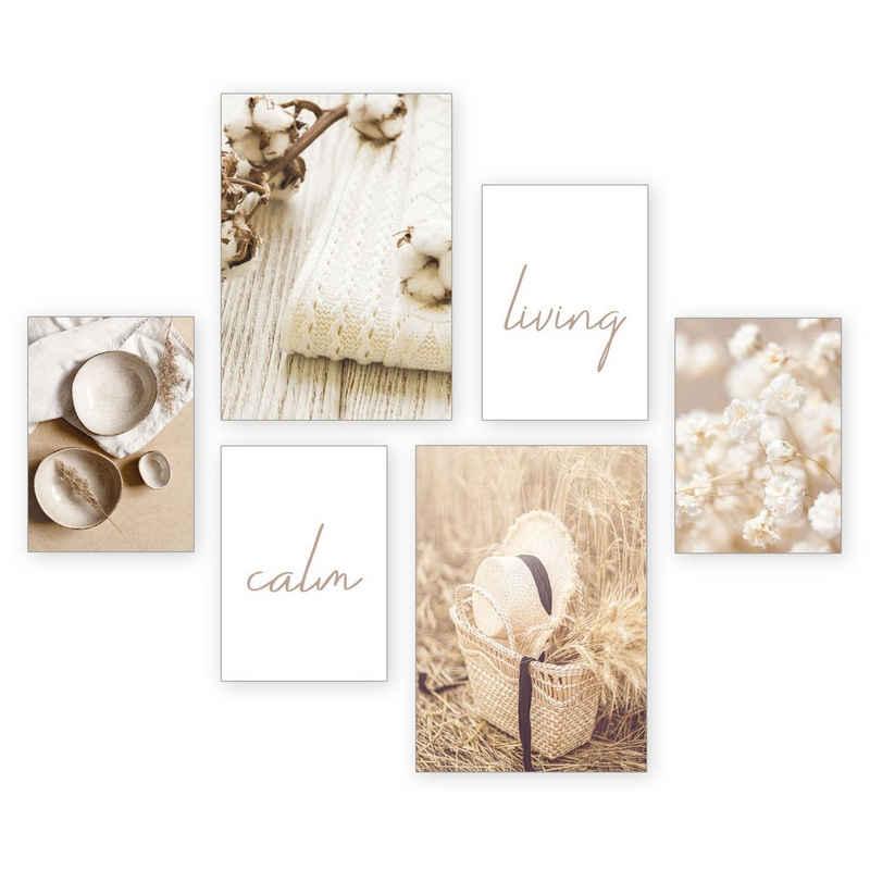 Kreative Feder Poster »Calm«, Natur (Set, 6 Stück), 6-teiliges Poster-Set, Kunstdruck, Wandbild, Posterwand, Bilderwand, optional mit Rahmen, WP533