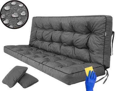 Hobbygarden Bankauflage »Pola 120 cm 150 cm 180 cm«, für Gartenbank und Hollywoodschaukel - inkl. 2 Stück Seitenkissen