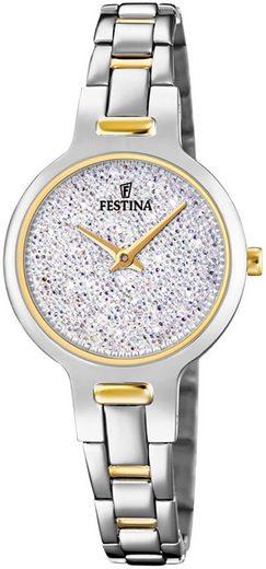 Festina Quarzuhr »UF20380/1 Festina Damen Uhr F20380/1 Stahl«, (Analoguhr), Damen Armbanduhr rund, Edelstahlarmband silber, gold