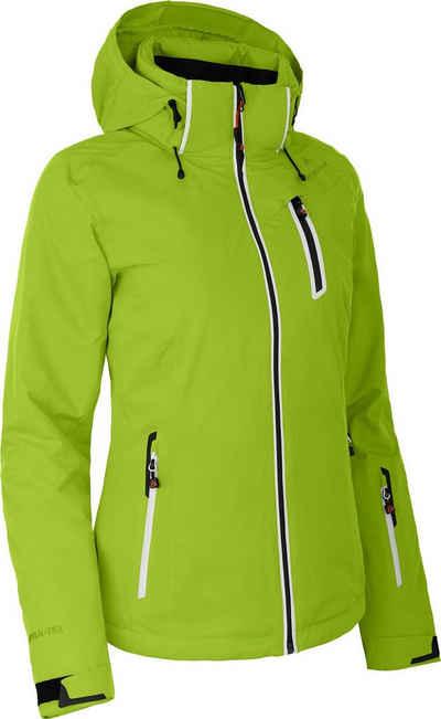 Bergson Skijacke »NICE« wattierte Damen Skijacke mit 20.000er Wassersäule, Kurzgrößen, lime grün