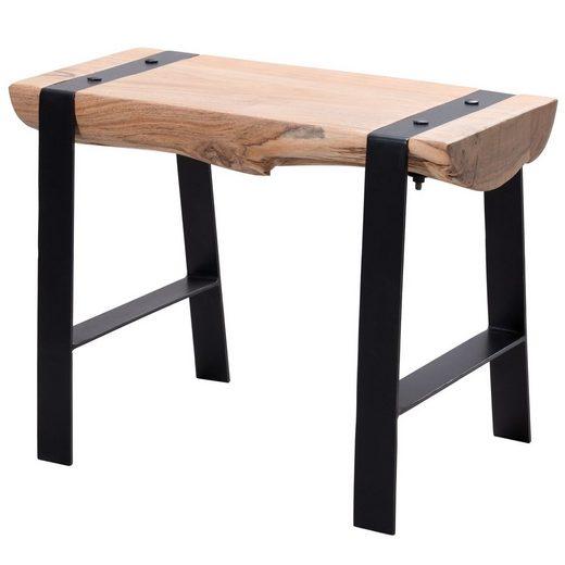 FINEBUY Sitzhocker »FB51034«, Design Sitzhocker 60 x 45 x 28 cm Vollholz Akazie Hocker Holzhocker mit Metallbeinen Kleine Sitzbank Esszimmer Beistellhocker Wohnzimmer Esszimmerhocker massiv Baumstamm (FSC® Mix)