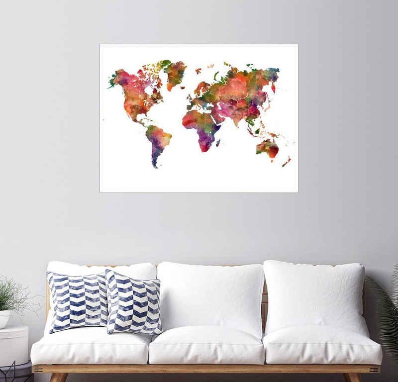 Posterlounge Wandbild, Weltkarte
