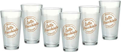 Ritzenhoff & Breker Latte-Macchiato-Glas »Happy, Best Coffee«, Glas, 400 ml, 6-teilig