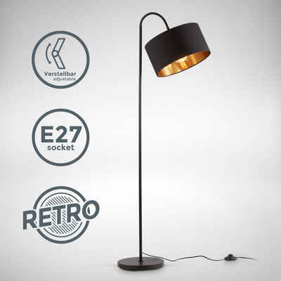 B.K.Licht Stehlampe »BKL1419«, schwenkbare Retro Stehleuchte, schwarz-goldener Stoffschirm, E27, 1-flammig, Stoffschirm 30 cm, 140 cm Kabel mit Fußtaster, ohne Leuchtmittel