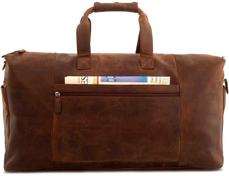 LEABAGS Reisetasche »Sydney«, Reisetasche Handgepäcktasche Sporttasche aus echtem Leder im Vintage Look, (LxBxH): ca. 64 x 25 x 34 cm - Muskat