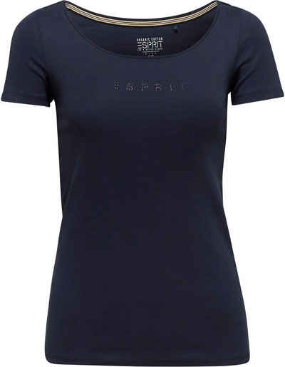 Esprit T-Shirt mit funkelndem Glitzerstein-Logo auf der Bust