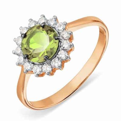 Zolotoy Goldring »Damen Ring 143014605P 585er Rosegold Peridot Zirkonia« (1-tlg., inkl. Schmuckbox), Rhodiniert, Hergestellt in Russland