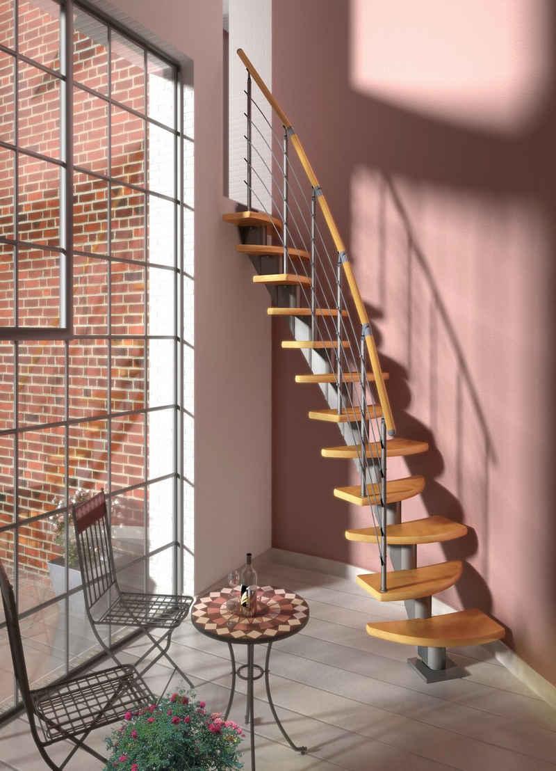 Dolle Systemtreppe »Berlin«, für Geschosshöhen bis 270 cm, Stufen offen, Buche, Edelstahlgeländer mit Holzhandlauf