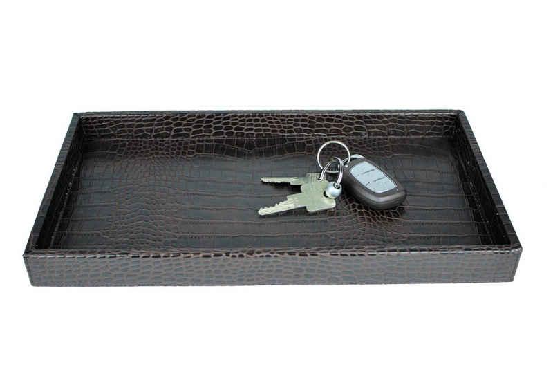Signature Home Collection Dekotablett »Tablett Kroko schwarz zum Servieren«, mit niedrigem Rand, pflegeleicht & abwischbar