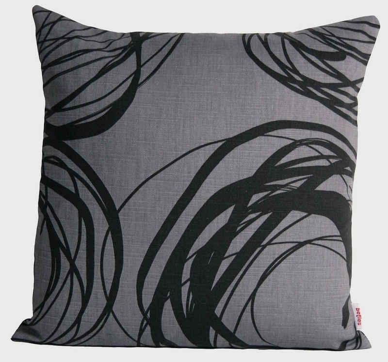 Kissenhülle »Mystik«, beties, Kissenbezug ca. 40x40 cm rund abstraktes Kringel-Design in schwarz auf dunklem Background in 100% Baumwolle (platin-schwarz)