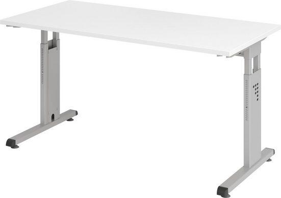 bümö Schreibtisch »OM-OS614-S«, höhenverstellbar, Bürotisch für's Homeoffice - Rechteck: 140x67 cm - Gestell: Silber, Dekor: Weiß