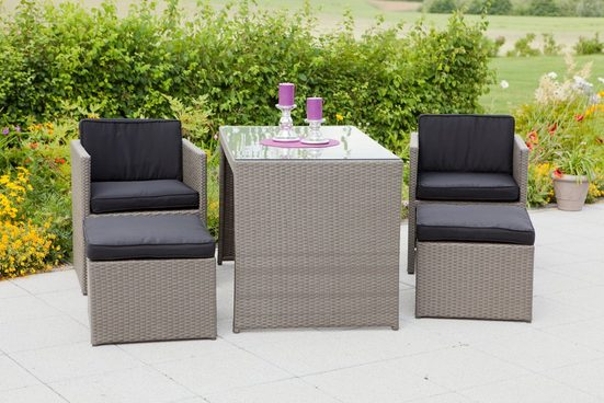 MERXX Set: Gartenmöbelset »Merano«, 11-tlg., 2 Sessel, 2 Hocker, Tisch 128x70 cm, Polyrattan