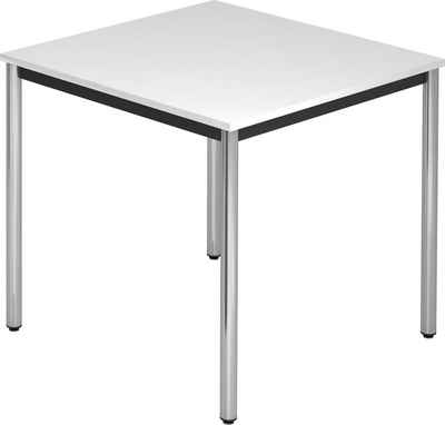bümö Konferenztisch »OM-DR08-C«, Meetingtisch & Besprechungstisch System - Quadrat: 80 x 80 cm - Gestell: Chrom, Dekor: Weiß