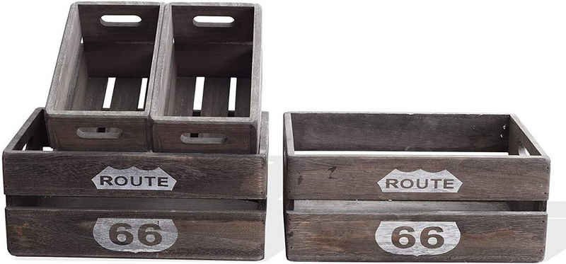 Mucola Holzkiste »Aufbewahrungsboxen 3er Set aus Paulownienholz Braun Shabby Obstkiste Vintage Allzweckkiste Kiste Box Holz Deko Offen Aufschrift Wein Ordnung Rustikal« (4 Stück), Tragekerben