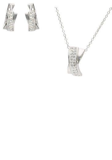 Firetti Ohrring und Ketten Set »Creolen und Halskette, rhodiniert, Glanz, massiv« (Set, 4-tlg), mit Kristallsteinen