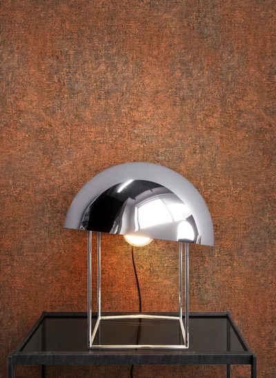 Newroom Vliestapete, Braun Tapete Uni Beton - Putz Orange Betontapete Betonoptik Putzoptik Modern Industrial für Wohnzimmer Schlafzimmer Küche