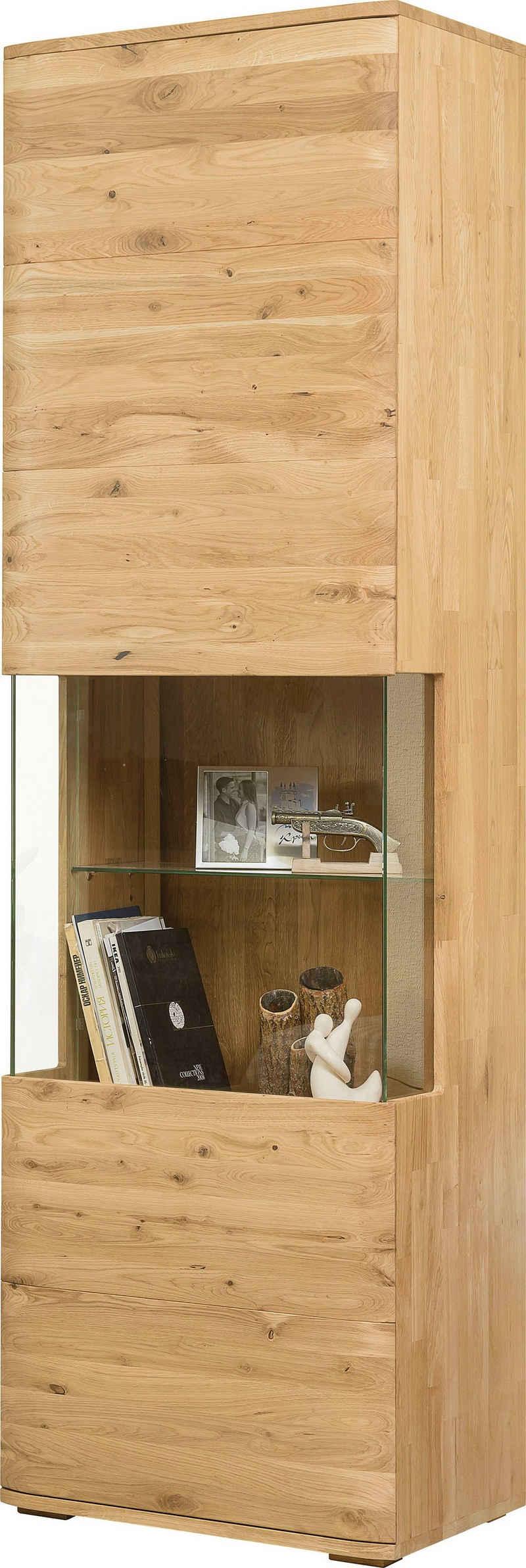 andas Vitrine »Milton« Tür und Seitenwand mit Glaseinsatz, aus massiven Eichenholz, mit einer Push-To-Open-, und einer Soft-Close-Funktion, Breite 60 cm
