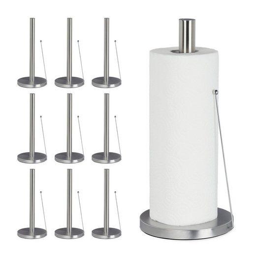 relaxdays Küchenrollenhalter »10x Küchenrollenhalter Edelstahl stehend«