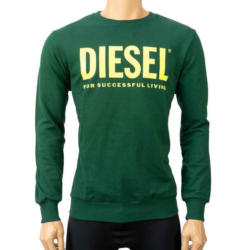Diesel Rundhalspullover Grün mit Frontprint