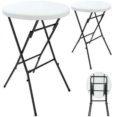 Casaria Stehtisch (2-St), klappbar • 2er Set • robuste Tischplatte • stabile Konstruktion • platzsparend • Kofferraumfreundlich • lackiertes Stahlgestell