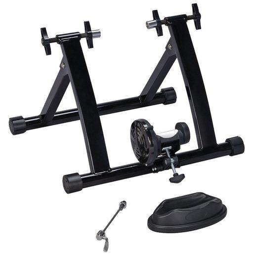 Yaheetech Rollentrainer, Fahrrad Rollentrainer Indoor Heimtrainer mit Magnetgerät zur Einstellung für 26-28 Zoll Schnellspanner & Vorderradunterlage