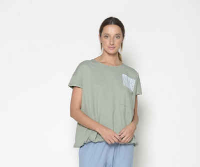 PAN T-Shirt »PAN Damen T-Shirt mit Brusttasche und Gummibund am Saumabschluß«