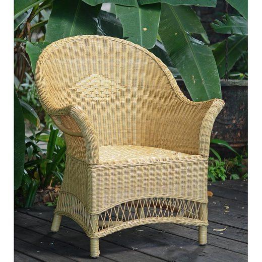 Casa Moro Stuhl »Rattan-Sessel Sevilla Natur mit Armlehne - aus Naturrattan handgeflochten - Premium Qualität Korb-Stuhl Korb-Sessel, Vintage Retro-Stuhl für Küche Garten Terrasse Esszimmer, IDSN57«