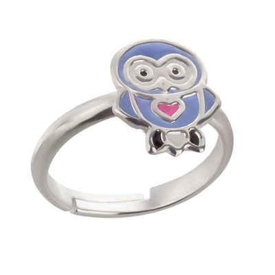 schmuck23 Fingerring »Kinder Ring Eule Herz 925 Silber«, Kinderschmuck Silberring Mädchen Geschenk