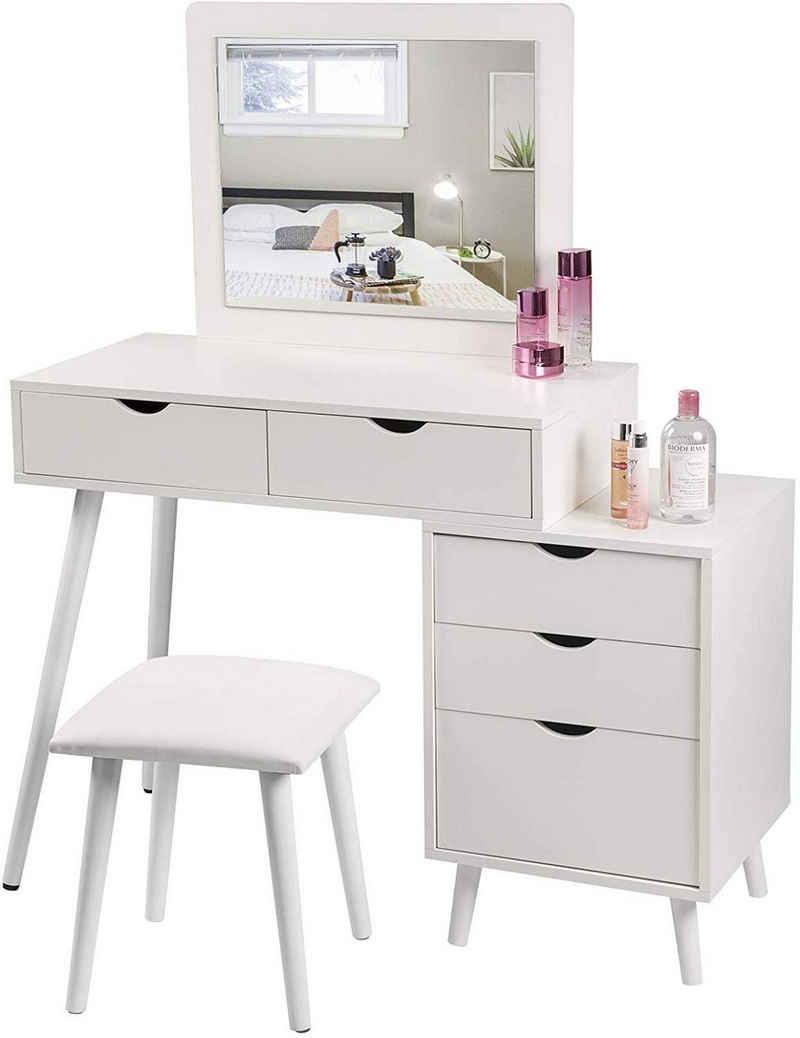 Woltu Schminktisch »MB6059« (1-St), Schminkkommode Frisiertisch mit Hocker und Spiegel, Kosmetiktisch mit 2 Schubladen und einem Nachttisch, Weiß