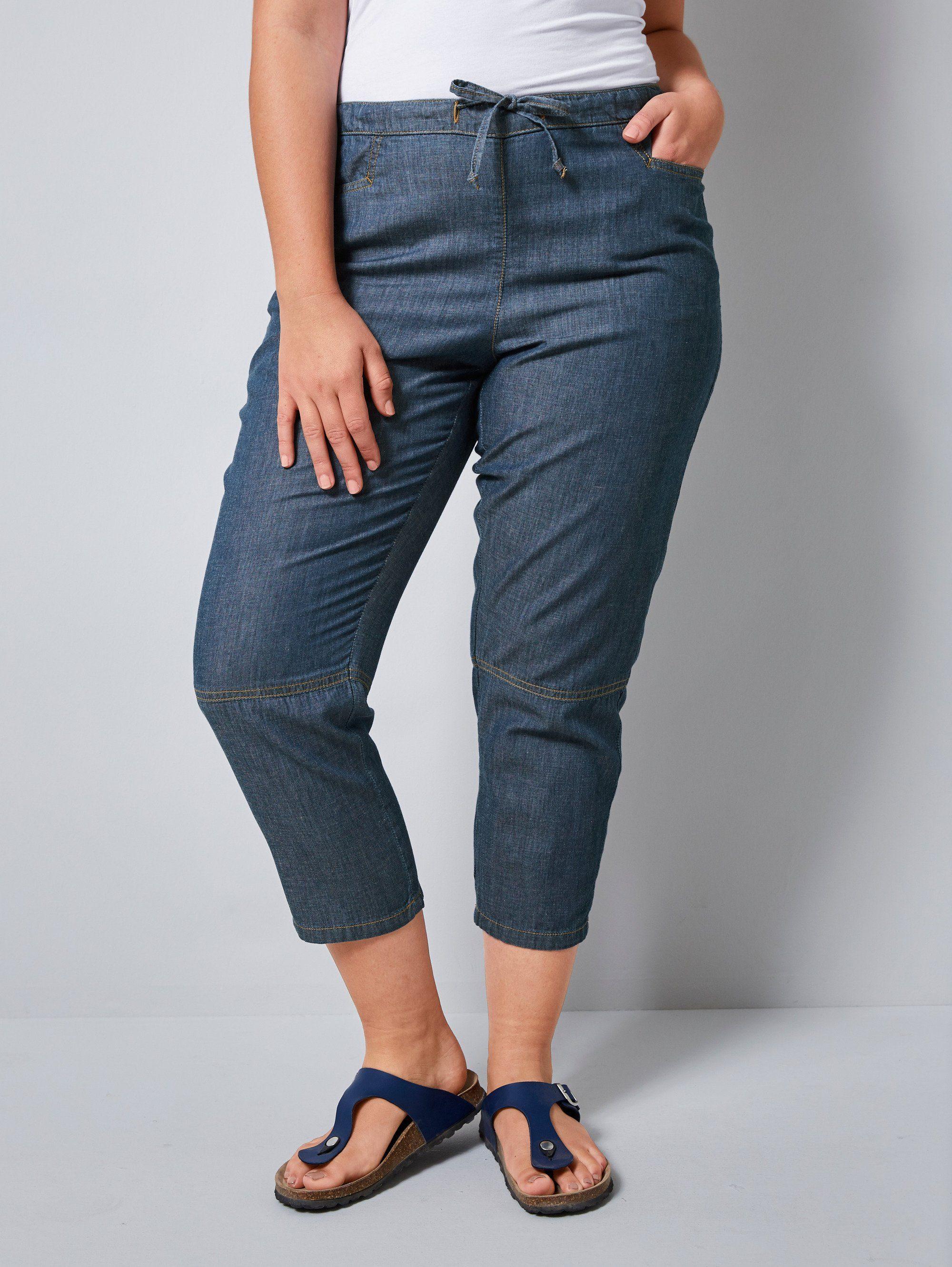 Sheego 7//8 Hose Jeans Caprihose Gr 40-58 Black Denim Schwarz NEU