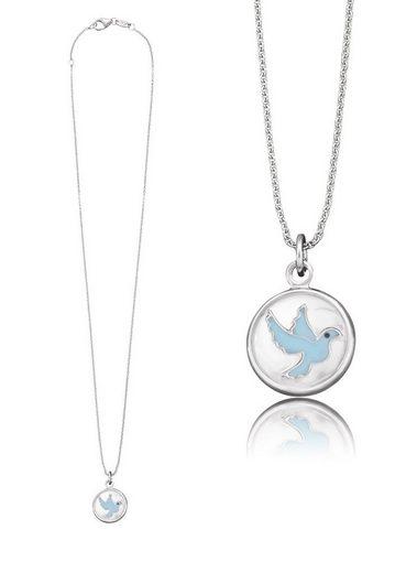 Herzengel Kette mit Anhänger »Taube als Symbol für Frieden, HEN-GLAS-01PEACE«, mit Glaslinse und Emaille