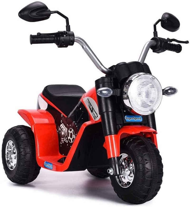 COSTWAY Elektro-Kindermotorrad »Elektro Motorrad«, 6V Elektro Motorrad mit Scheinwerfer und Hupe, Kindermotorrad Dreirad, Elektromotorrad, Kinderfahrzeug 3-4 km/h für Kinder ab 3 Jahren