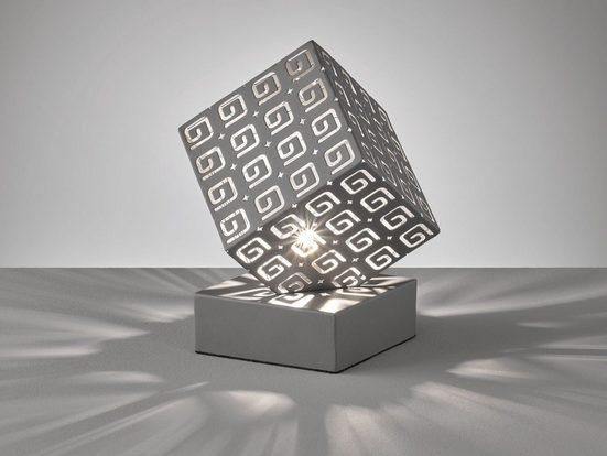FHL easy! LED Nachttischlampe, kleine Bauhaus Lampe Grau Lampenschirm Würfel – ausgefallene Design Tischbeleuchtung für die Fensterbank