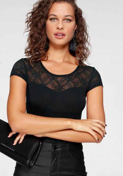 Melrose Rundhalsshirt mit Spitze und transparentem Spitzenrücken