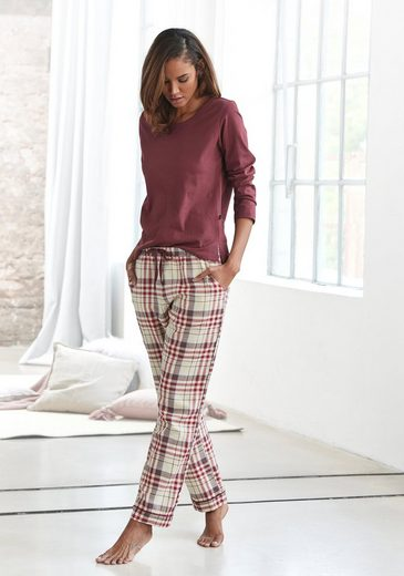 H.I.S Pyjama mit karierter Schlafhose