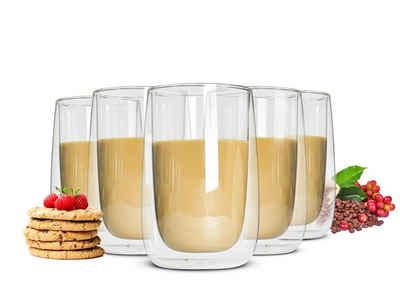 Sendez Thermoglas »6 Doppelwandige Latte Macchiato Gläser 380ml«, Glas