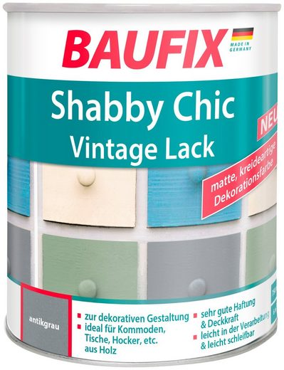 BAUFIX Acryl Buntlack »Shabby Chic«, Antik Lack, antikgrau, 750 ml