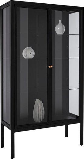Leonique Vitrine »Ashlee« aus schönem Metall gefertigt, mit Glaseinlegeböden und Glastüren, in zwei verschiedenen Breiten