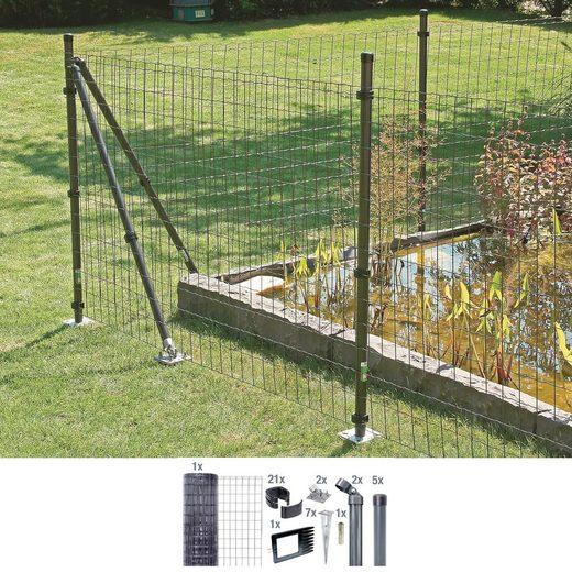 GAH ALBERTS Set: Schweißgitter »Fix-Clip Pro®«, 122 cm hoch, 15 m, anthrazit beschichtet, mit Bodenhülsen