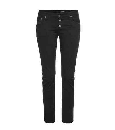 PLEASE Regular-fit-Jeans »PLEASE Straight-Jeans bequeme Damen Denim-Hose mit Gürtelschlaufenbund Freizeit-Hose Schwarz«