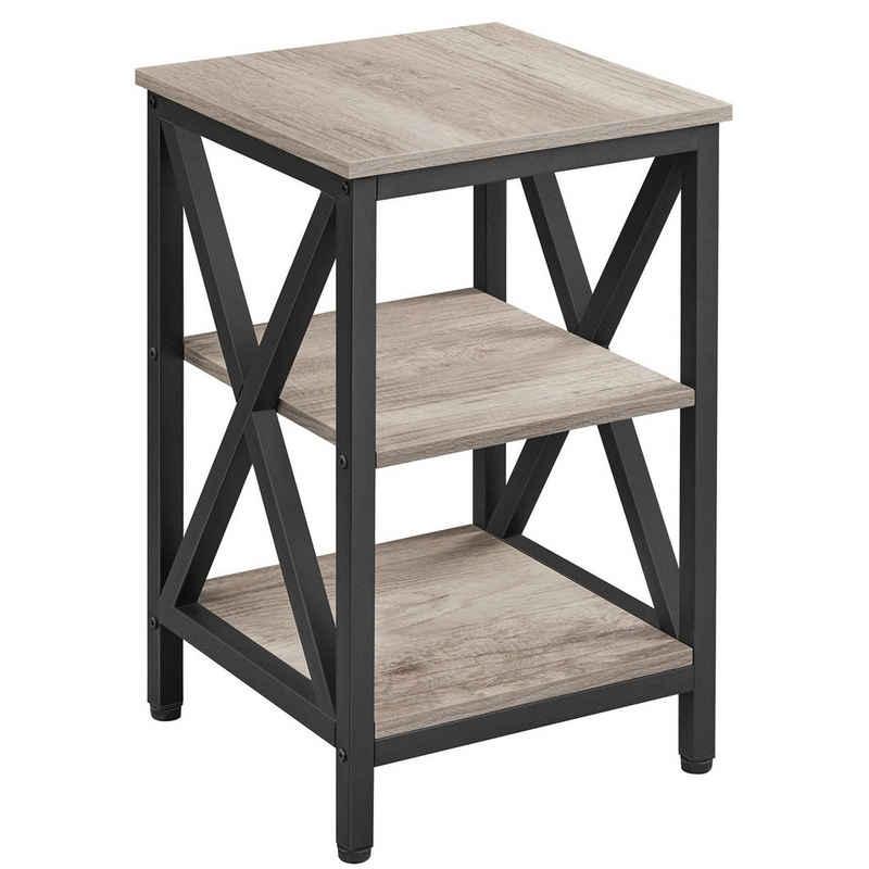 Yaheetech Nachttisch, Beistelltisch mit 3 Holzablagen, Wohnzimmer, Schlafzimmer, einfacher Aufbau, stabiles X-Form, Industrie-Design, Vintage, Grau