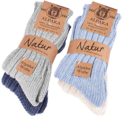BRUBAKER Kuschelsocken »warme dicke Alpaka Socken« (4-Paar, 100% Alpakawolle) Wintersocken für Damen und Herren