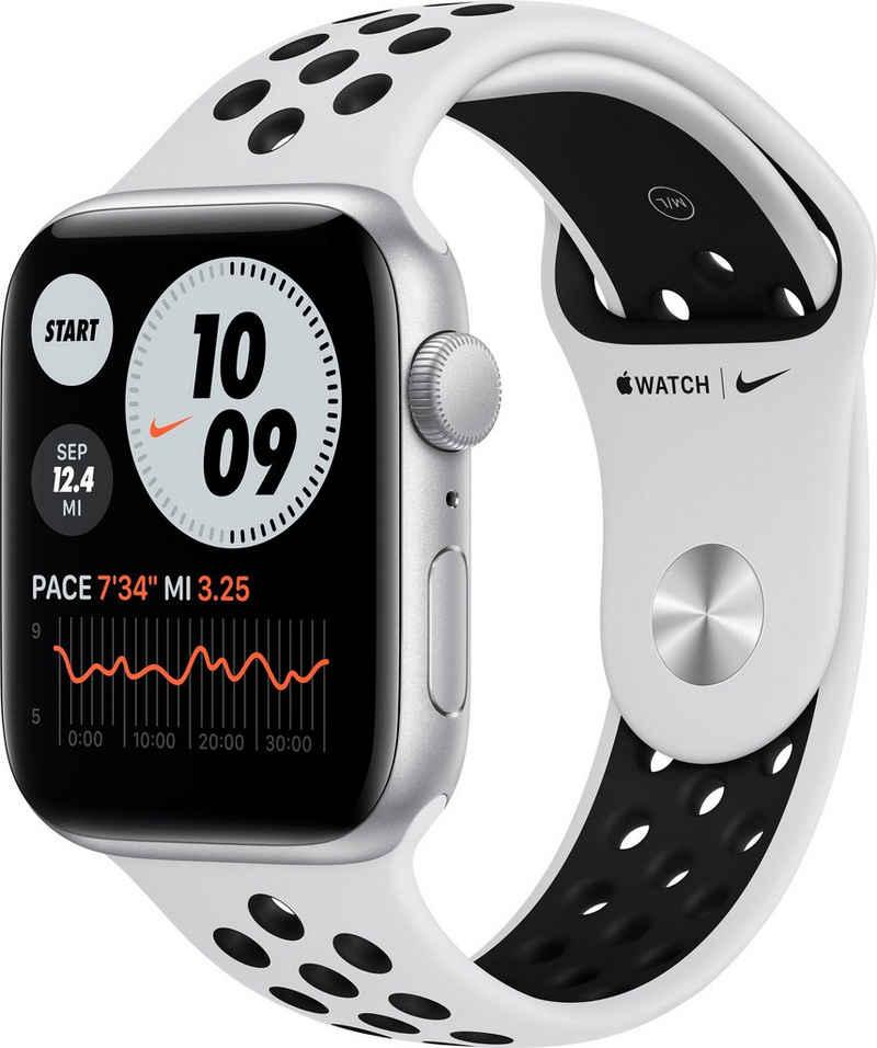 Apple Nike SE GPS, Aluminiumgehäuse mit Nike Sportarmband 44mm Watch (Watch OS 6), inkl. Ladestation (magnetisches Ladekabel)
