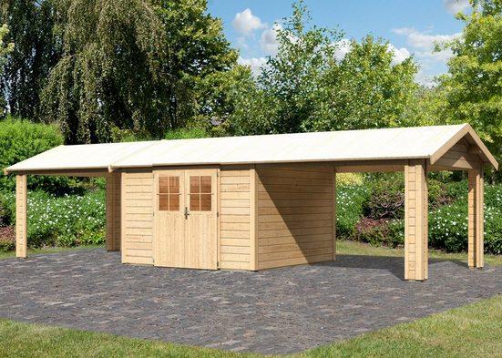 KARIBU Set: Gartenhaus »Espelo 7«, BxT: 947x348 cm, mit 2 Anbaudächern