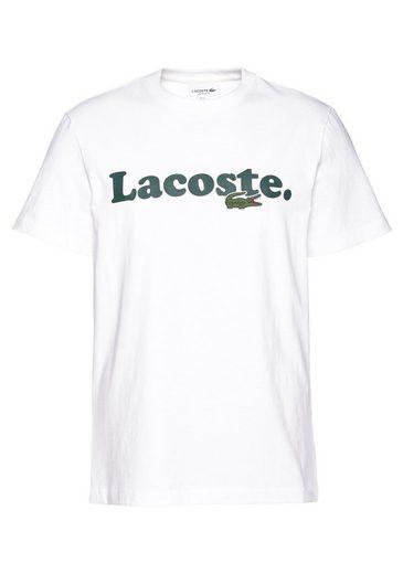 Lacoste T-Shirt Kontrastfarbener Schriftzug