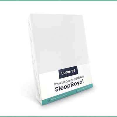 Spannbettlaken »SleepRoyal«, Lunarys, Spannbettlaken 120x200 cm, weiß, Spannbettlaken für Boxspringbetten / Topper / Wasserbetten und alle Matratzen-Typen, 250 g/m² dicker Stoff, blickdicht, kuschelig weich, hochwertiges Bettlaken aus Baumwolle + Elasthan, Stretch Jersey, schwere und dicke Qualität, Luxus Stretch-Jersey, Premium Spannlaken, 40 cm Steghöhe für extra hohe Matratzen, perfekte Passform, festes Rundumgummi, faltenfrei, bügelfrei, trocknergeeignet