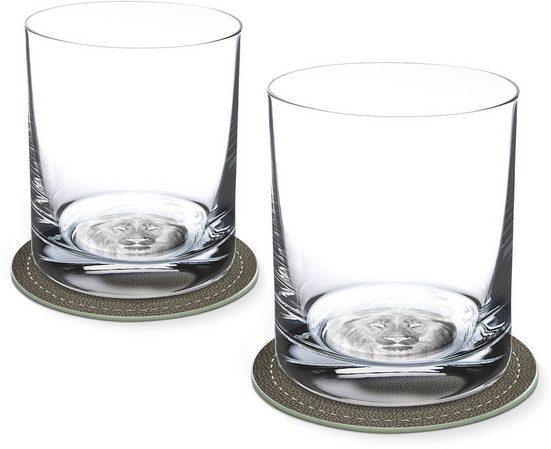 Contento Whiskyglas, Glas, Löwe, 400 ml, 2 Gläser, 2 Untersetzer