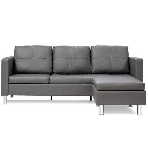 COSTWAY Ecksofa »Couchgarnitur Sofagarnitur Schlafsofa 3 Sitzer Sofa«, mit Ottomanen, perfekt für Zuhause und Büro. Der Artikel besteht aus 3 Pakete.