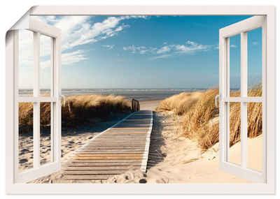 Artland Wandbild »Fensterblick Nordseestrand auf Langeoog«, Fensterblick (1 Stück), in vielen Größen & Produktarten -Leinwandbild, Poster, Wandaufkleber / Wandtattoo auch für Badezimmer geeignet