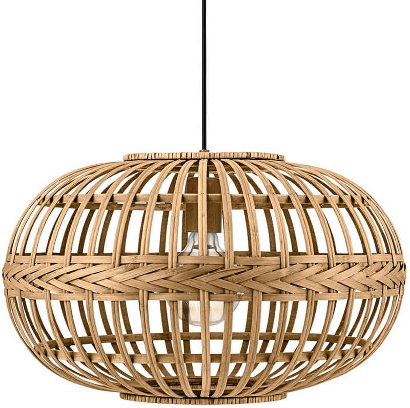EGLO Pendelleuchte »AMSFIELD«, braun / Ø38 x H110 cm / exkl. 1 x E27 (je max. 60W) / Deckenlampe aus Holz - Pendellampe - Hängelampe - Esstischlampe - Wohnzimmerlampe - Schlafzimmerlampe - Wohnzimmer - Schlafzimmer - Holzlampe